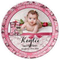 "New Grandparents Letter ""K"" Pink Camouflage Koala Porcelain Plate"