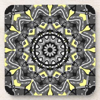 New Gray and Yellow Plaid Kaleidoscope Beverage Coaster