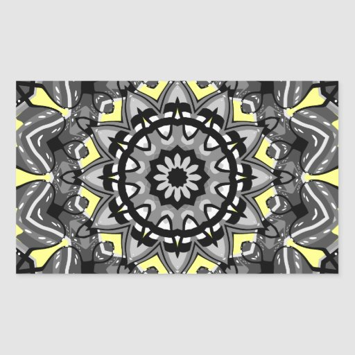 New Gray and Yellow Plaid Kaleidoscope Rectangle Sticker