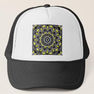 New Gray and Yellow Plaid Kaleidoscope Trucker Hat