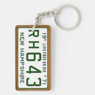 New Hampshire 1971 Vintage License Plate Keychain Rectangular Acrylic Keychain