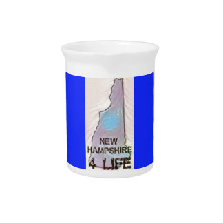 """New Hampshire 4 Life"" State Map Pride Design Beverage Pitchers"