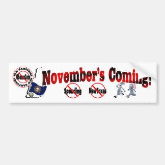 New Hampshire Anti ObamaCare – November's Coming! Bumper Sticker