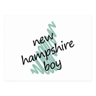 New Hampshire Boy on Child's New Hampshire Map Postcard