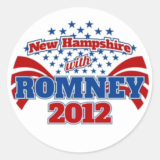 New Hampshire con Romney 2012 Pegatina Redonda