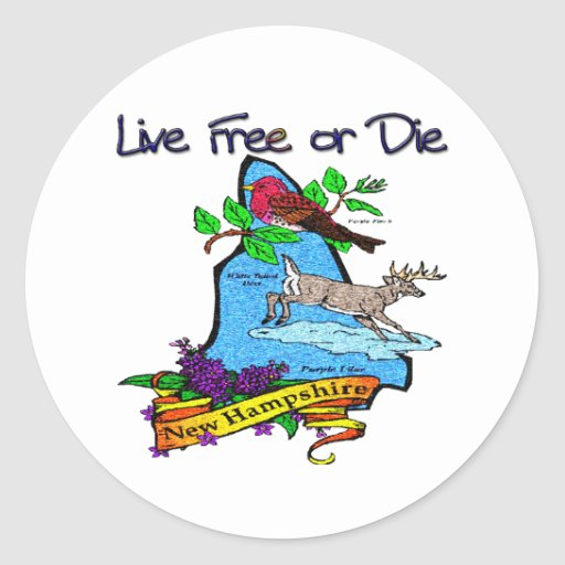 New Hampshire Deer Lilac Finch Classic Round Sticker