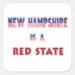 New Hampshire es un estado rojo Pegatina Cuadrada