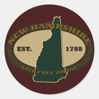 New Hampshire Est 1788 Classic Round Sticker