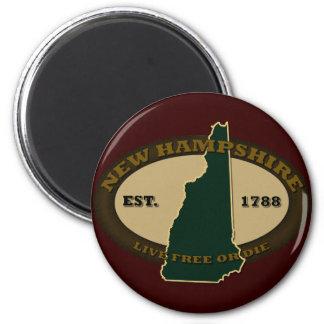 New Hampshire Est 1788 Imán Redondo 5 Cm