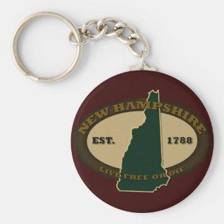 New Hampshire Est 1788 Llavero Redondo Tipo Pin