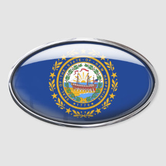New Hampshire Flag Glass Oval Stickers