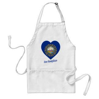 New Hampshire Flag Heart Adult Apron