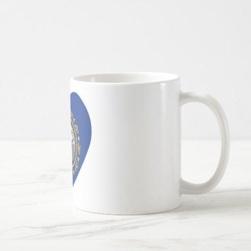 New Hampshire Flag Heart Classic White Coffee Mug