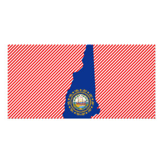 New Hampshire Flag Map Picture Card