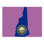 New Hampshire Flag Map Postcard