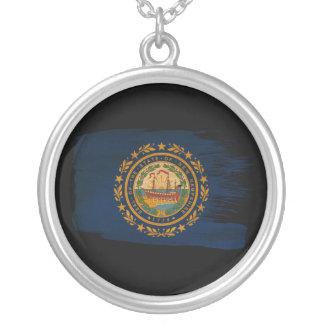 New Hampshire Flag Round Pendant Necklace