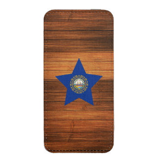 New Hampshire Flag Star on Wood iPhone 5 Pouch