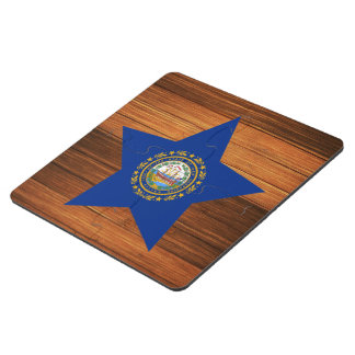 New Hampshire Flag Star on Wood Puzzle Coaster