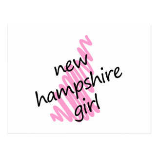 New Hampshire Girl with Scribbled New Hampshire Ma Postcard