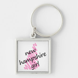 New Hampshire Girl with Scribbled New Hampshire Ma Silver-Colored Square Keychain