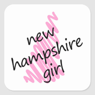 New Hampshire Girl with Scribbled New Hampshire Ma Square Sticker