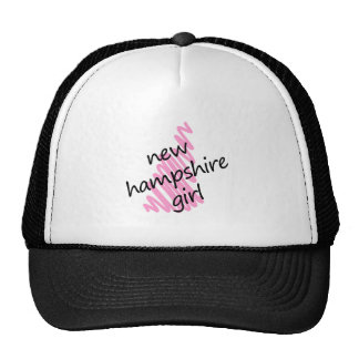 New Hampshire Girl with Scribbled New Hampshire Ma Trucker Hat