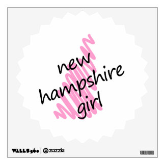 New Hampshire Girl with Scribbled New Hampshire Ma Wall Decal