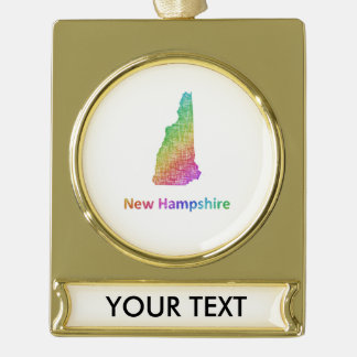 New Hampshire Gold Plated Banner Ornament