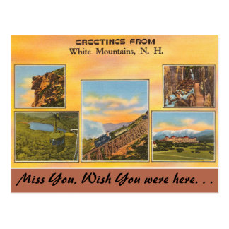 New Hampshire, Greetings from White Mountains Postcard