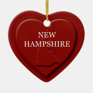 New Hampshire Heart Map Christmas Ornament