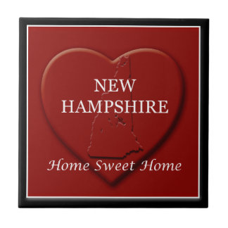 New Hampshire Home Sweet Home Heart Map Tile