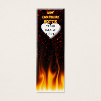 New Hampshire Hottie fire and red marble heart. Mini Business Card