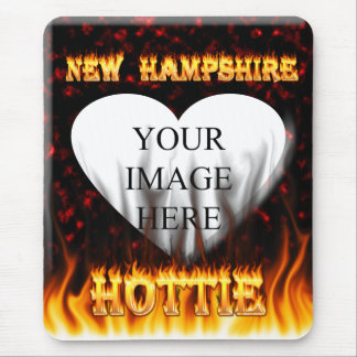 New Hampshire Hottie fire and red marble heart. Mouse Pad