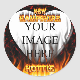 New Hampshire Hottie fire and red marble heart. Round Sticker
