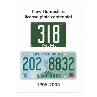 New Hampshire license plate centennial Postcard