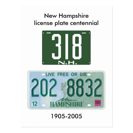 New Hampshire license plate centennial Postcard
