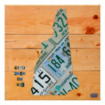 New Hampshire License Plate Map Print