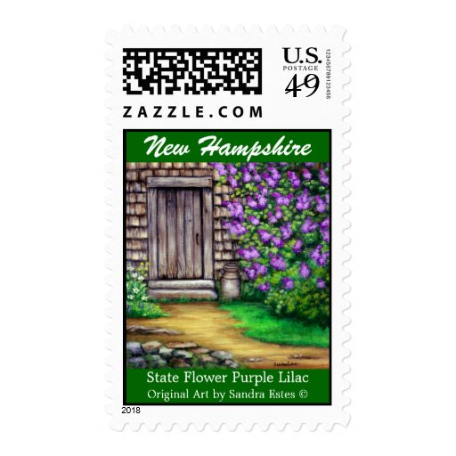 NEW HAMPSHIRE LILAC State Flower Art Postage Stamp