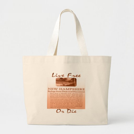 New Hampshire Live Free Or Die brownish Canvas Bags