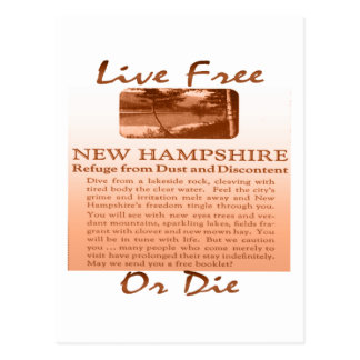 New Hampshire Live Free Or Die brownish Postcard