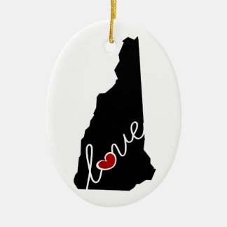 New Hampshire Love!  Gifts for NH Lovers Ceramic Ornament
