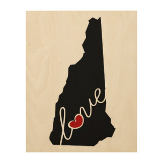 New Hampshire Love!  Gifts for NH Lovers Wood Wall Decor