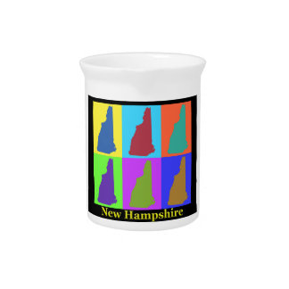 New Hampshire Map Beverage Pitcher