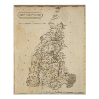 New Hampshire Map by Arrowsmith Print