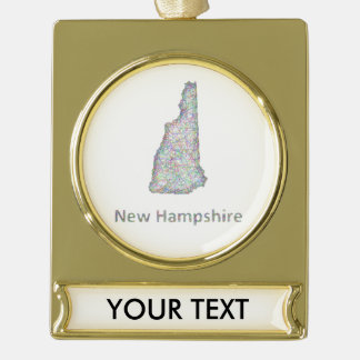 New Hampshire map Gold Plated Banner Ornament