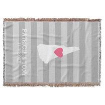 New Hampshire Map Home State Love - Custom Heart Throw Blanket