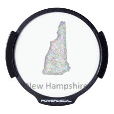 New Hampshire Map Led Window Decal at Zazzle