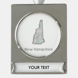 New Hampshire map Silver Plated Banner Ornament