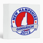 New Hampshire Newt Gingrich 3 Ring Binder