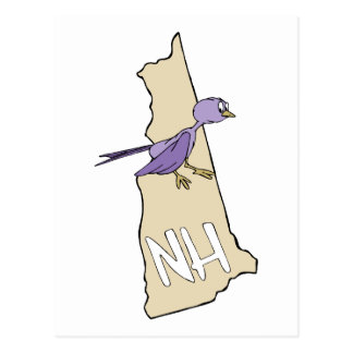 New Hampshire NH  Map with funny Purple Finch Postcard